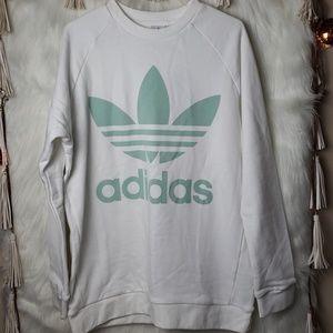 NEW Adidas White Trefoil Oversized Sweatshirt
